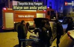 Tosya Menderes Caddesinde Araç Yangını