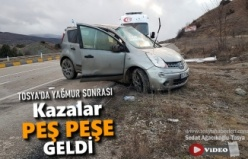 Tosya D-100 Karayolunda Kazalar Peşpeşe Geldi