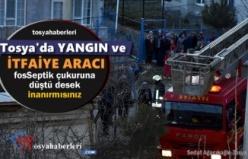 Tosya'da Yangına Müdahale etmek İsteyen İtfaiye Aracı