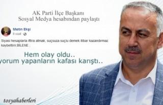AK Parti İlçe Başkanı Sosyal Medya Hesabında...