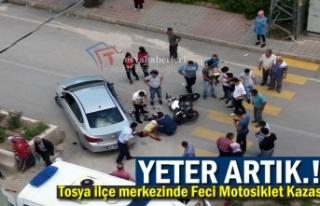 Tosya İlçe Merkezinde Feci Motosiklet Kazası