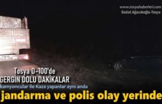 Tosya D-100'de Kaza Sonrası Kavga Çıktı