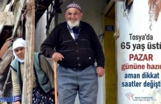 TOSYA'DA 65 YAŞ VE ÜZERİ OLANLAR PAZAR GÜNÜNE...
