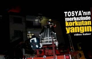 Tosya'da Gece Yarısı Baca Yangını