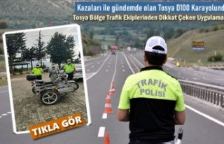 Tosya Bölge Trafik Ekipleri D100'de Motosiklet...