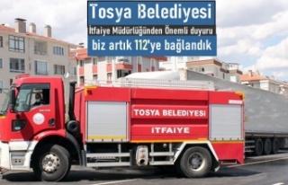 TOSYA İTFAİYE 112'YE BAĞLANDI