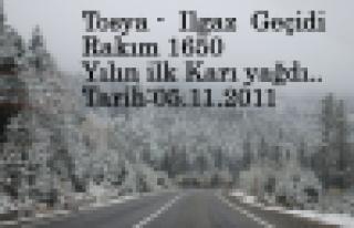 Tosya - Kastamonu arası Yılın ilk Karı Yağdı
