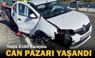 Tosya D100 de İki Ayrı Trafik Kazasında 3 kişi Yaralandı
