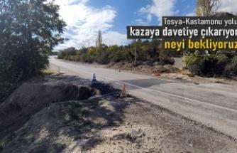 TOSYA'DA YOL ÇALIŞMASI KAZAYA DAVETİYE ÇIKARIYOR