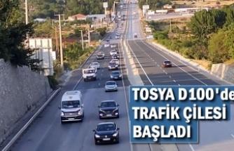 TOSYA D100'DE TRAFİK ÇİLESİ BAŞLADI