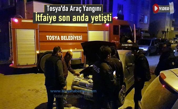 Tosya'da Araç Yangını Meydana Geldi