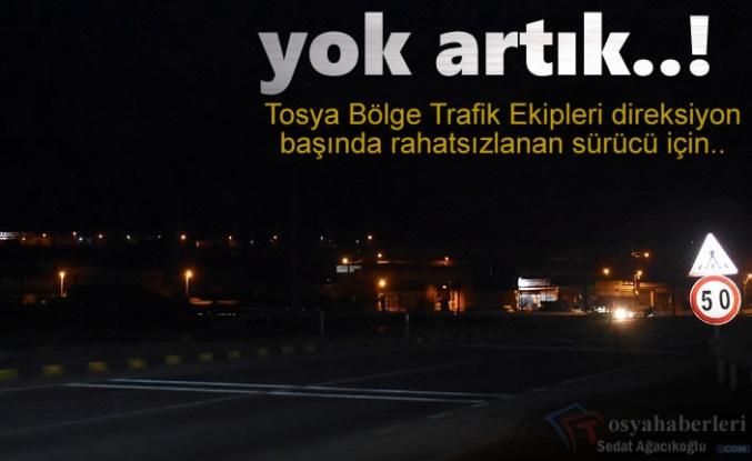 Tosya'da Polis Kontrol Noktasında Kriz Geçiren Şoför Hastaneye Kaldırıldı