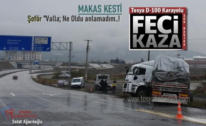 Tosya D-100'de Feci TIR Kazası