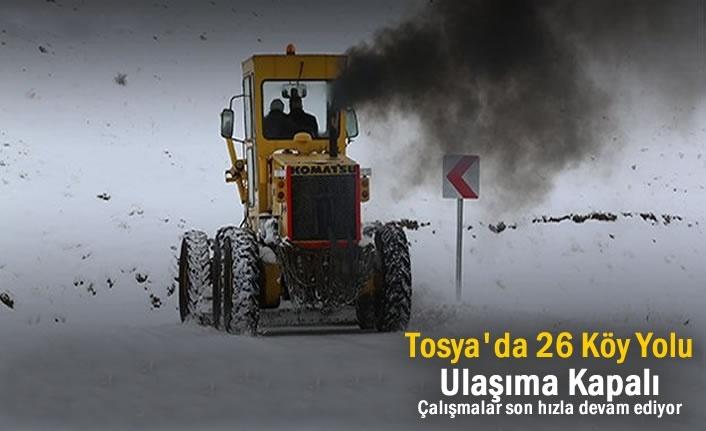 Tosya'da 26 Köy Yolu Kar Yağışı sonrası Ulaşıma Kapandı